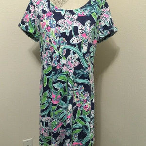 Lilly Pulitzer Bright Navy SWAY THIS WAY Dress L